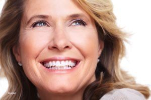 Close Up of Middle Aged Caucasian Woman Smiling and Looking Up