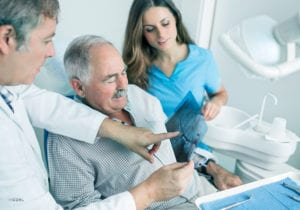 Patient Reviewing Dental X-Rays With Doctor and Assistant